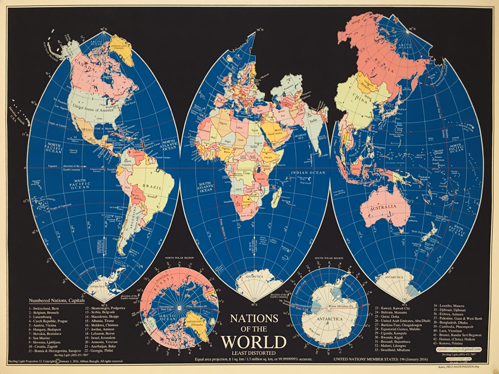 The chicago athenaeum least distorted equal area world map 2016 in commonly used world maps the shape of all nations land masses and waters are presented with the least amount of distortion in this projection gumiabroncs Choice Image